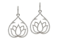 18kt white gold Lotus earring with 2.07 cts diamonds. Available in white, yellow, or rose gold.