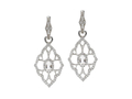 18kt white gold Baroque earring with white topaz and .69 ct diamonds. Available in white, yellow, or rose gold.