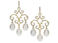 18kt yellow gold Jane earring with freshwater pearls and .60 cts diamonds. Available in white, yellow, or rose gold.