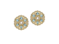 18kt yellow gold Blossom earring with white onyx, blue topaz and .98 cts diamonds. Available in white, yellow, or rose gold.