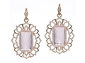 18kt rose gold Bella earring with rose quartz and 1.74 cts diamonds. Available in white, yellow, or rose gold.