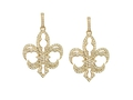 18kt yellow gold large Fleur-de-lis earrings with  1.34 cts diamonds. Available in white, yellow, or rose gold.