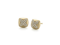 18kt yellow gold Quatrefoil stud earring and .3 cts diamonds. Available in white, yellow, or rose gold.