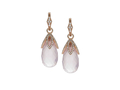18kt rose gold Petal drop with rose quartz and .84 cts diamonds. Available in white, yellow, or rose gold.