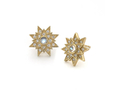 18kt yellow gold Star stud with .28 cts moonstone and .28 cts diamonds. Available in white, yellow, or rose gold.