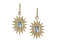 18kt yellow gold Star earring with 2.7 cts moonstone and .4 cts diamonds. Available in white, yellow, or rose gold.