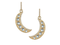 18kt yellow gold Crescent moon earring with 3 cts moonstone and .4 cts diamonds. Available in white, yellow, or rose gold.