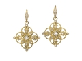 18kt yellow gold Filigree earring with white topaz and .35 cts diamonds. Available in white, yellow, or rose gold.