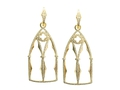 18kt yellow gold Gothic Window earring with 1.47 cts diamonds. Available in white, yellow, or rose gold.
