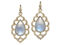 18kt yellow gold Baroque large moonstone earring with 25.4 cts moonstone and 1.02 cts diamonds. Available in white, yellow, or rose gold.