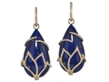 18kt yellow gold Lotus earring with lapis and 1.17 cts diamonds. Available in white, yellow, or rose gold.