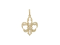 18kt yellow gold Large Fleur-de-lis pendant with 0.67 cts diamonds. Available in white, yellow, or rose gold.