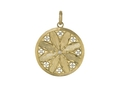 18kt yellow gold Gothic disc pendant with 0.6 cts diamonds. Available in white, yellow, or rose gold.