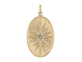 18kt yellow gold Compass medallion with .3 cts moonstone and .35 cts diamonds. Available in white, yellow, or rose gold.