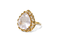 18kt yellow gold Jane ring with 9.76 ct rose quartz and .36 cts diamonds. Available in white, yellow, or rose gold.