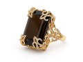 18kt yellow gold Versailles ring with 18.8 ct smoky quartz and 1.23 cts diamonds. Available in white, yellow, or rose gold.