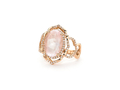 18kt rose gold Aragon ring with 4 ct rose quartz and .42 cts diamonds. Available in white, yellow, or rose gold.
