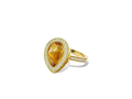 18kt yellow gold Pear stack ring with 3 ct citrine and .37 cts diamonds. Available in white, yellow, or rose gold.