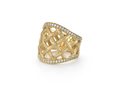 18kt yellow gold Lattice ring with .6 cts diamonds. Available in white, yellow, or rose gold.