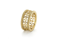 18kt yellow gold Baroque band with beaded edge with .22 cts diamonds. Available in white, yellow, or rose gold.