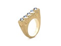 18kt yellow gold Moonstone bar ring with 1.5 cts moonstone. Available in white, yellow, or rose gold.