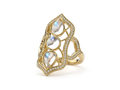 18kt yellow gold Baroque multi moonstone ring with 3 cts moonstone and . 45 cts diamonds. Available in white, yellow, or rose gold.